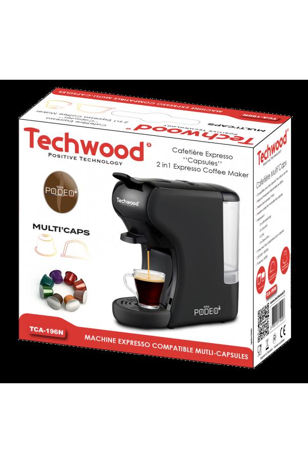 Machine à Café Expresso 2 en 1 TECHWOOD 1450W - Noir