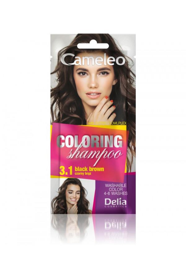 SHAMPOOING COLORANT 3.1 NOIR BRUN 40ML - DELIA CAMELEO