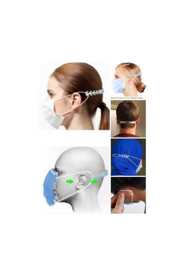 3 attache bavette/ masque  en plastique flexible